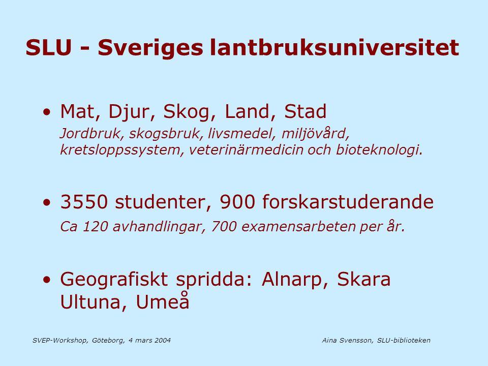 Aina Svensson, SLU-bibliotekenSVEP-Workshop, Göteborg, 4 mars 2004 Registrering Metadata Uppladdning Granskning Metadata Submission Buffer Publicering i EPrints öppna arkiv OAI Alerts LIBRIS LUKAS Eprints SLU:s Tryckeri Vid behov ersätts författarens pdf-fil med fil från tryckeriet.