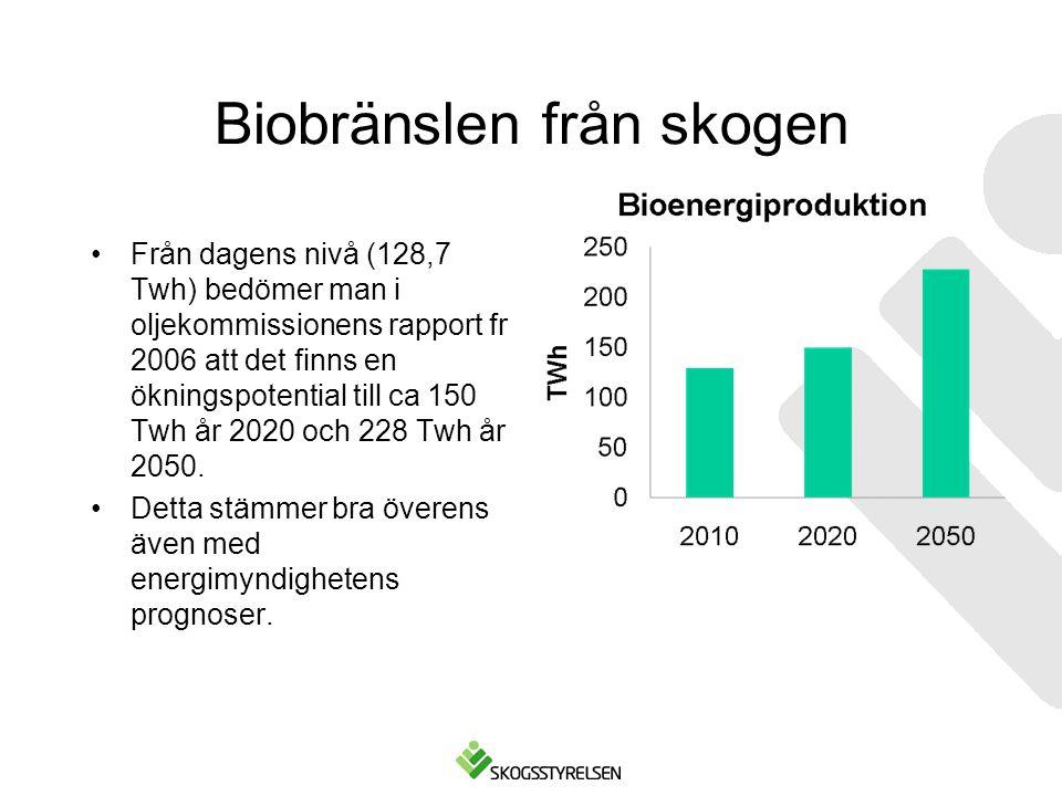 Biobränslen från skogen •Från dagens nivå (128,7 Twh) bedömer man i oljekommissionens rapport fr 2006 att det finns en ökningspotential till ca 150 Tw