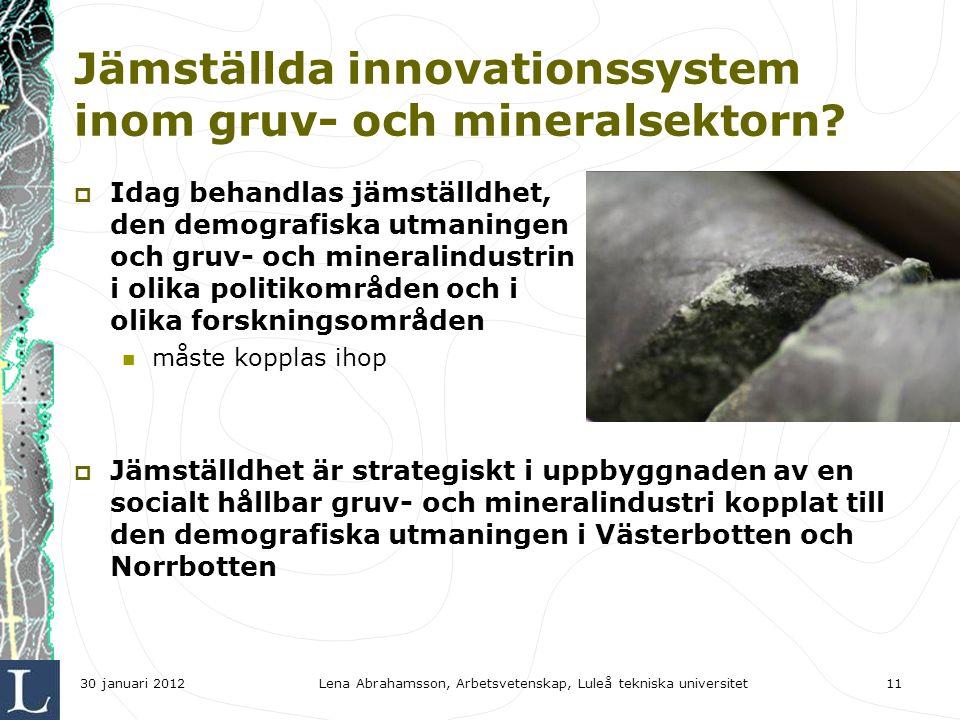 Jämställda innovationssystem inom gruv- och mineralsektorn.