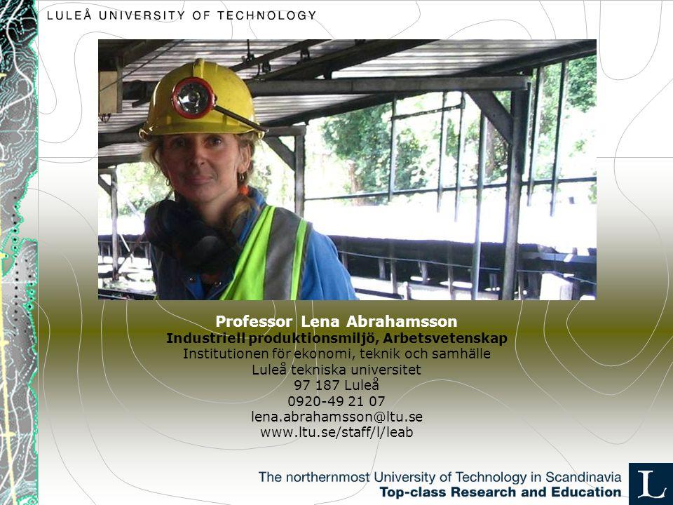 Professor Lena Abrahamsson Industriell produktionsmiljö, Arbetsvetenskap Institutionen för ekonomi, teknik och samhälle Luleå tekniska universitet 97 187 Luleå 0920-49 21 07 lena.abrahamsson@ltu.se www.ltu.se/staff/l/leab