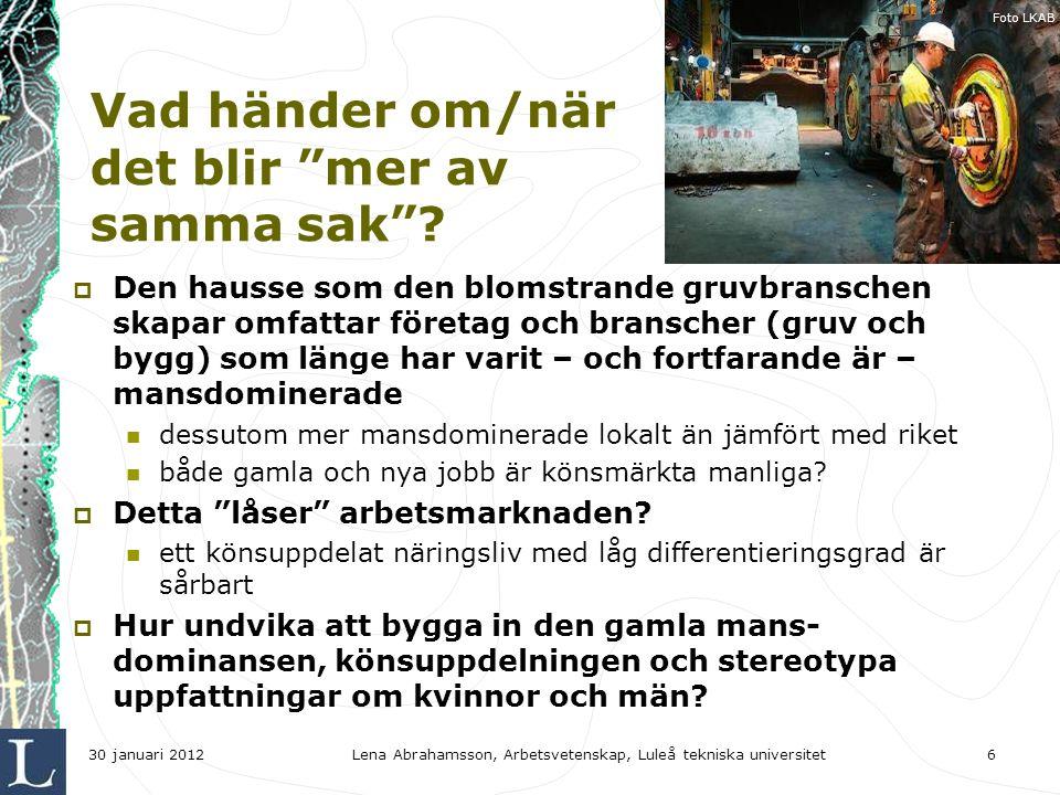 Lena Abrahamsson, Arbetsvetenskap, Luleå tekniska universitet6 Vad händer om/när det blir mer av samma sak .
