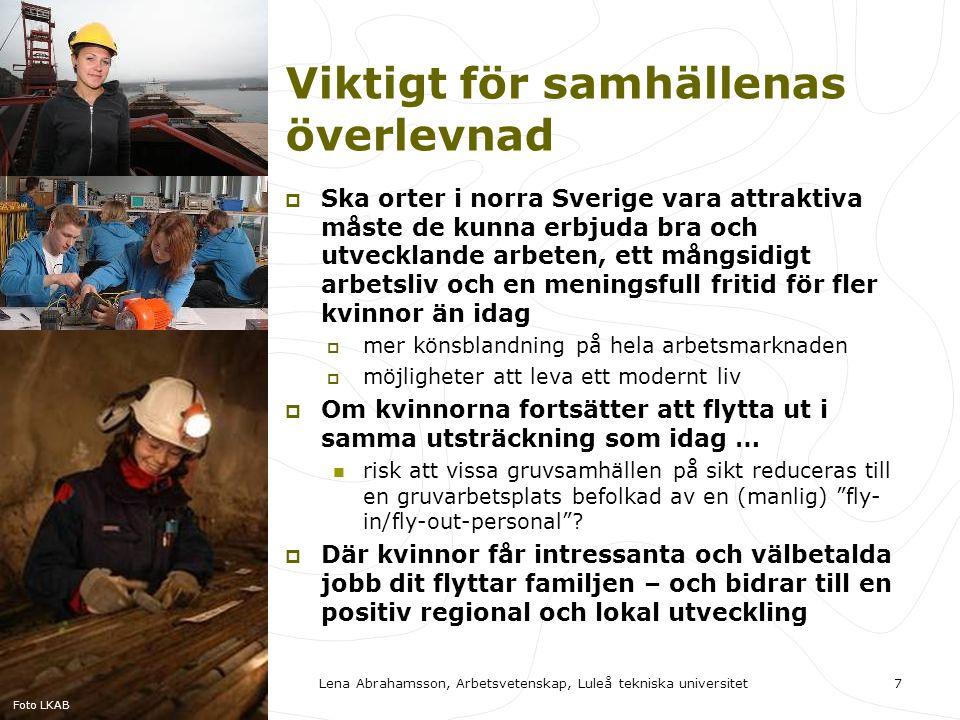 Viktigt för samhällenas överlevnad  Ska orter i norra Sverige vara attraktiva måste de kunna erbjuda bra och utvecklande arbeten, ett mångsidigt arbetsliv och en meningsfull fritid för fler kvinnor än idag  mer könsblandning på hela arbetsmarknaden  möjligheter att leva ett modernt liv  Om kvinnorna fortsätter att flytta ut i samma utsträckning som idag …  risk att vissa gruvsamhällen på sikt reduceras till en gruvarbetsplats befolkad av en (manlig) fly- in/fly-out-personal .