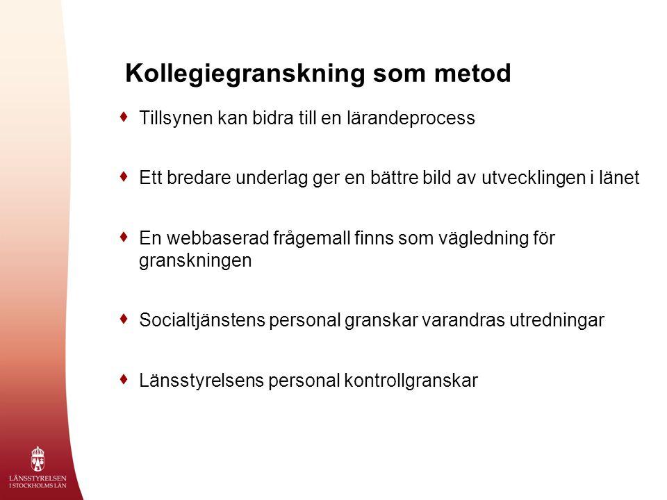 Kollegiegranskning som metod  Tillsynen kan bidra till en lärandeprocess  Ett bredare underlag ger en bättre bild av utvecklingen i länet  En webba