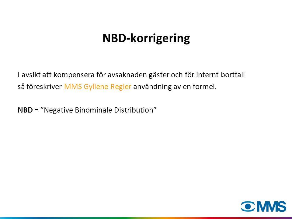 NBD-korrigering I avsikt att kompensera för avsaknaden gäster och för internt bortfall så föreskriver MMS Gyllene Regler användning av en formel.