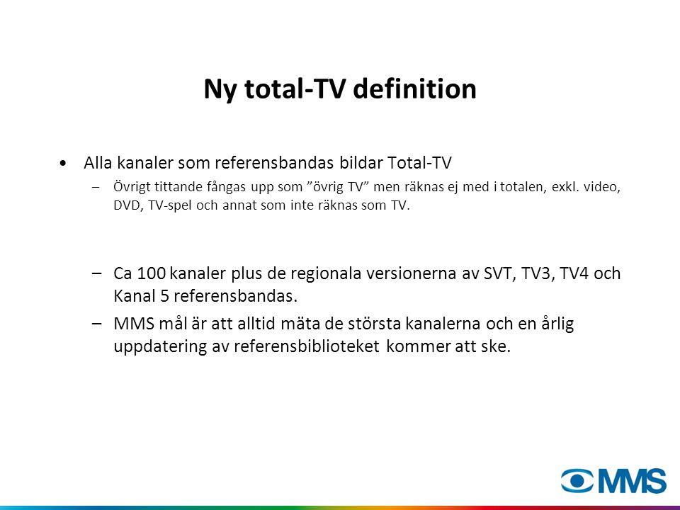 Ny total-TV definition •Alla kanaler som referensbandas bildar Total-TV –Övrigt tittande fångas upp som övrig TV men räknas ej med i totalen, exkl.