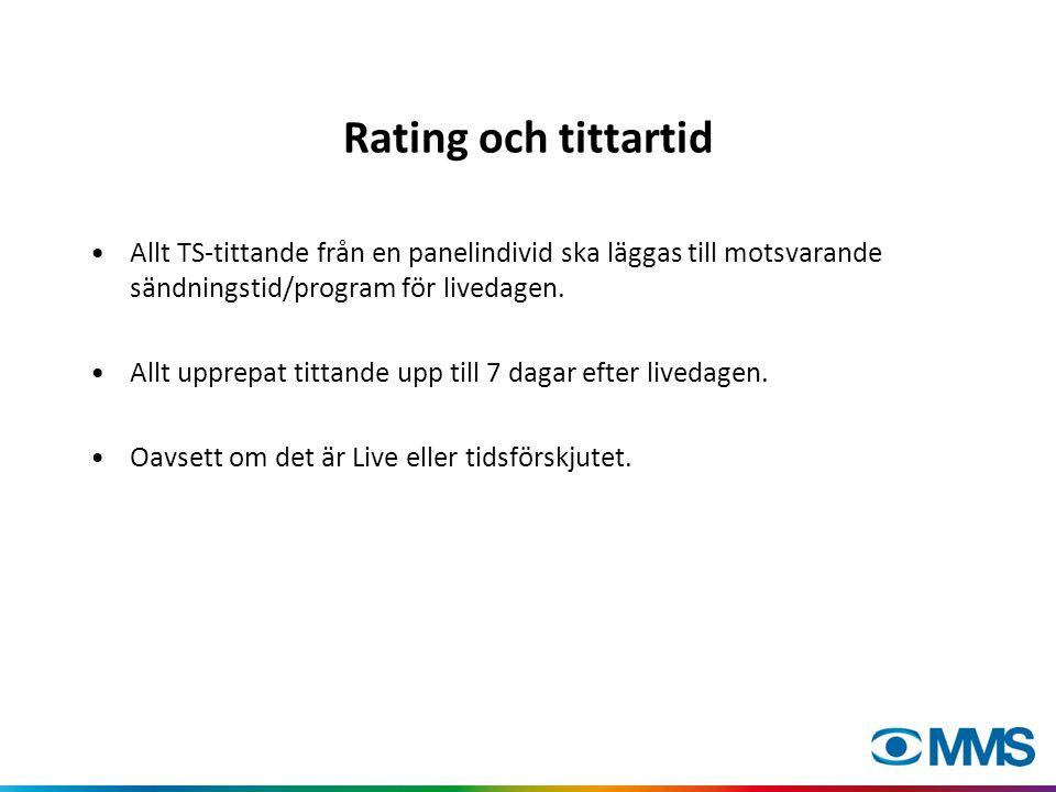Rating och tittartid •Allt TS-tittande från en panelindivid ska läggas till motsvarande sändningstid/program för livedagen.