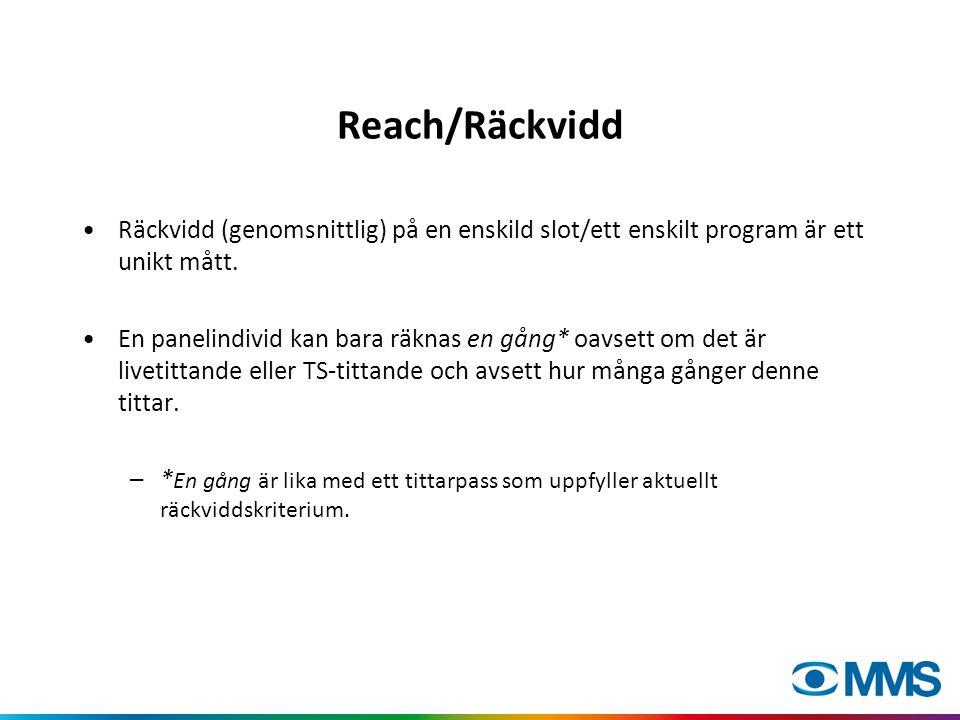 Reach/Räckvidd •Räckvidd (genomsnittlig) på en enskild slot/ett enskilt program är ett unikt mått.