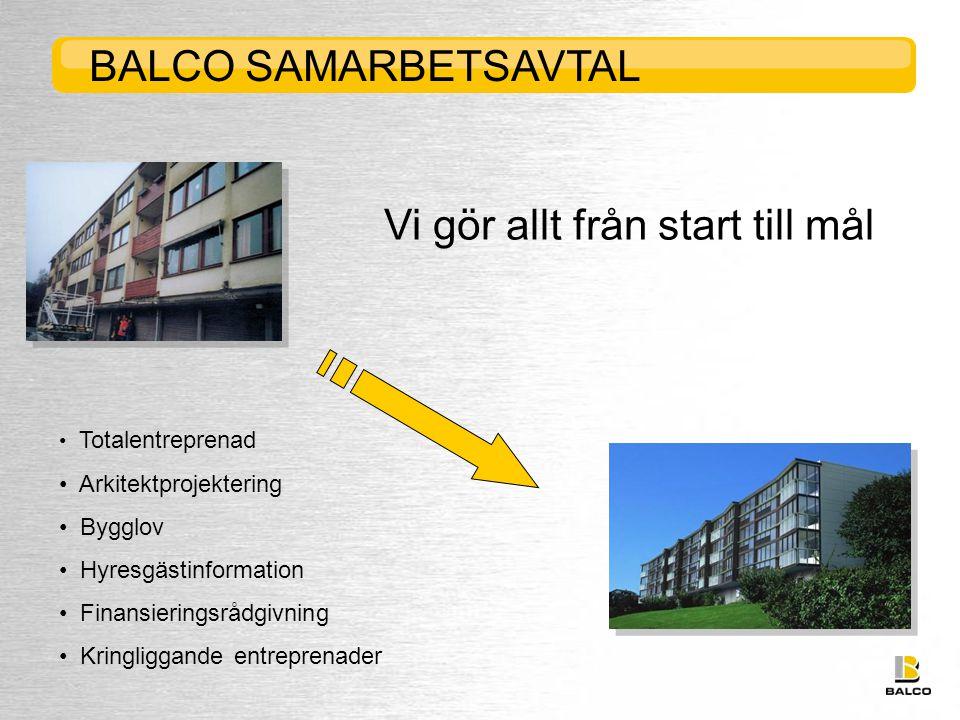 BALCO SAMARBETSAVTAL Vi gör allt från start till mål • Totalentreprenad • Arkitektprojektering • Bygglov • Hyresgästinformation • Finansieringsrådgivning • Kringliggande entreprenader
