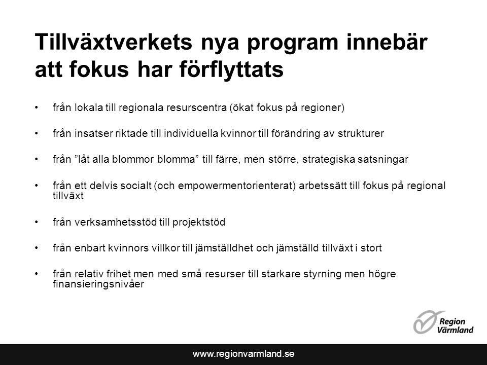 www.regionvarmland.se Tillväxtverkets nya program innebär att fokus har förflyttats •från lokala till regionala resurscentra (ökat fokus på regioner)