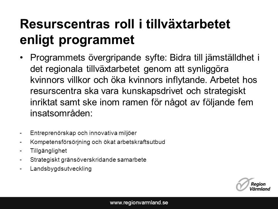 www.regionvarmland.se Resurscentras roll i tillväxtarbetet enligt programmet •Programmets övergripande syfte: Bidra till jämställdhet i det regionala