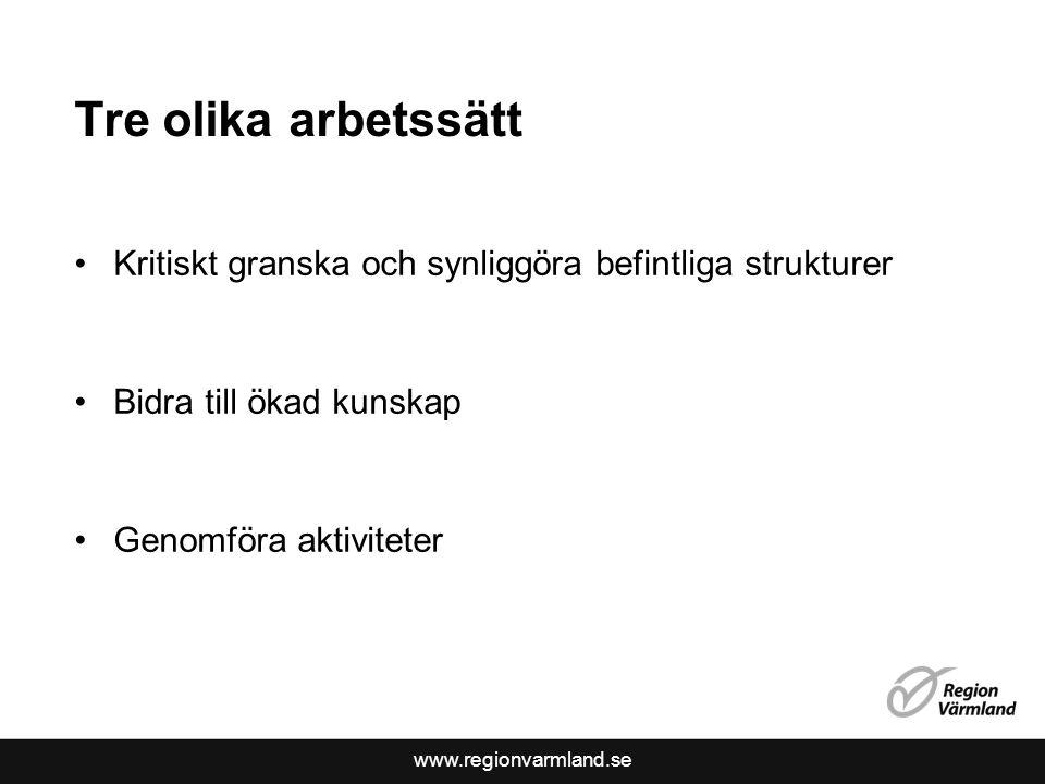 www.regionvarmland.se Tre olika arbetssätt •Kritiskt granska och synliggöra befintliga strukturer •Bidra till ökad kunskap •Genomföra aktiviteter