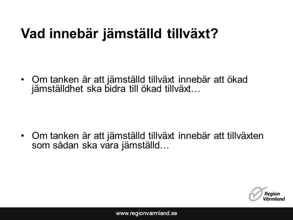 www.regionvarmland.se Vad innebär jämställd tillväxt? •Om tanken är att jämställd tillväxt innebär att ökad jämställdhet ska bidra till ökad tillväxt…