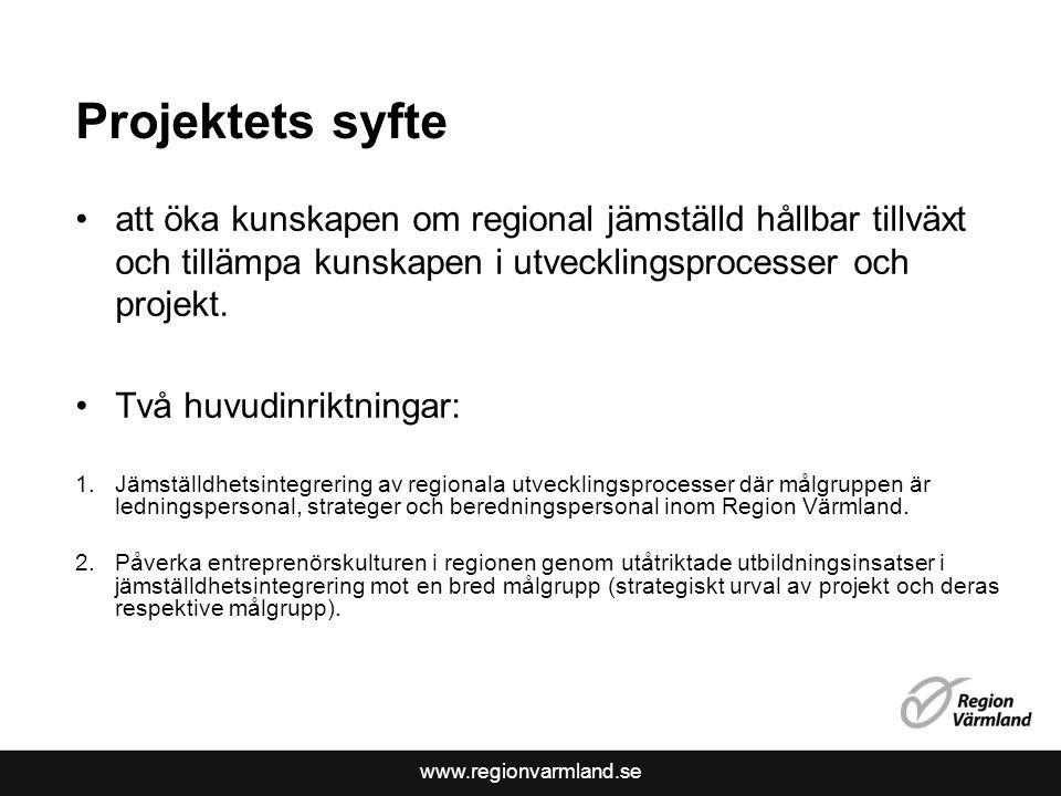 www.regionvarmland.se Projektets syfte •att öka kunskapen om regional jämställd hållbar tillväxt och tillämpa kunskapen i utvecklingsprocesser och pro
