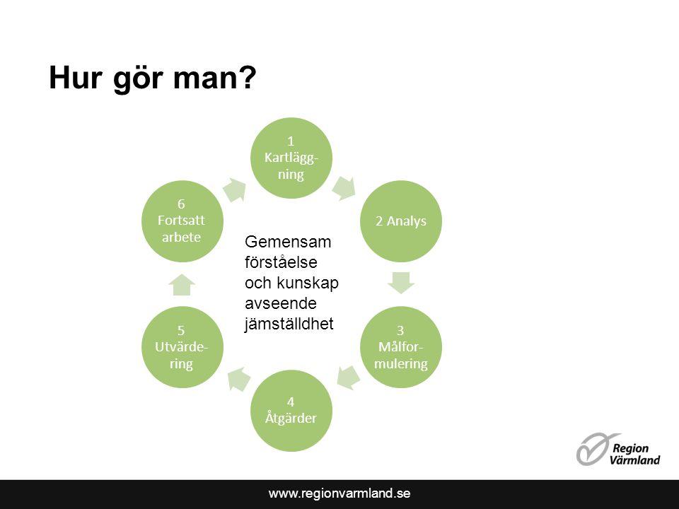 www.regionvarmland.se Hur gör man? 1 Kartlägg- ning 2 Analys 3 Målfor- mulering 4 Åtgärder 5 Utvärde- ring 6 Fortsatt arbete Gemensam förståelse och k