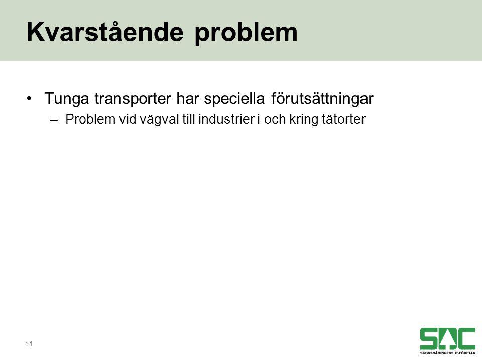 11 Kvarstående problem •Tunga transporter har speciella förutsättningar –Problem vid vägval till industrier i och kring tätorter