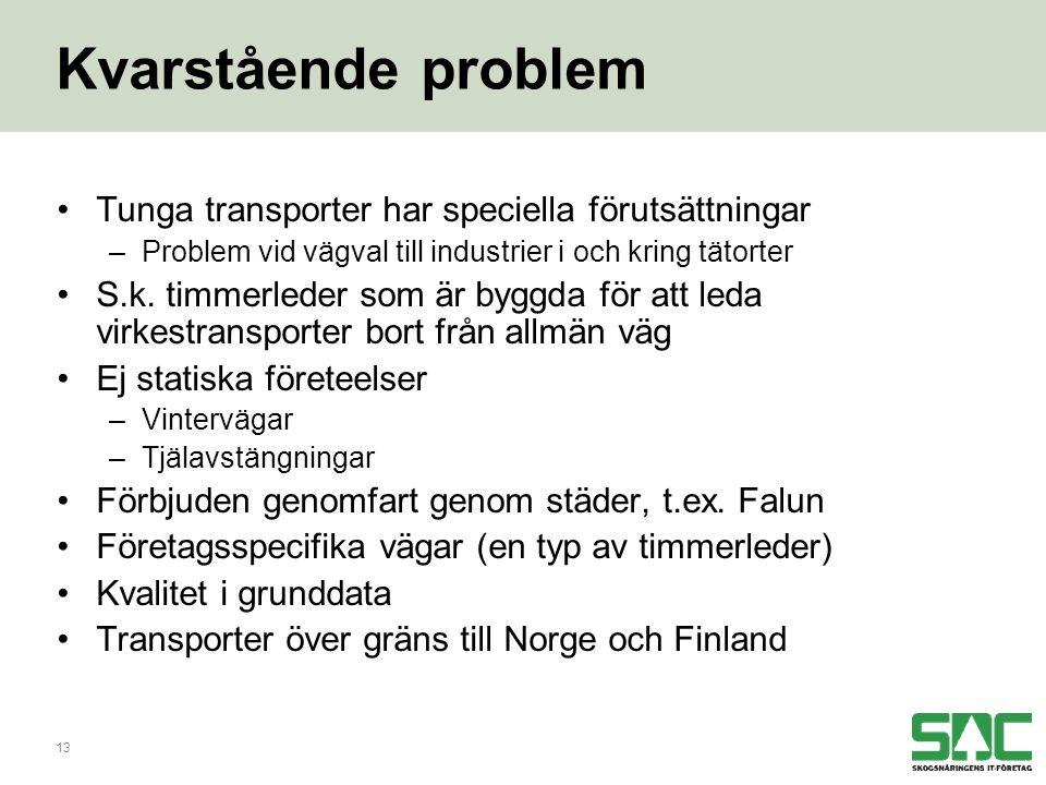 13 Kvarstående problem •Tunga transporter har speciella förutsättningar –Problem vid vägval till industrier i och kring tätorter •S.k.