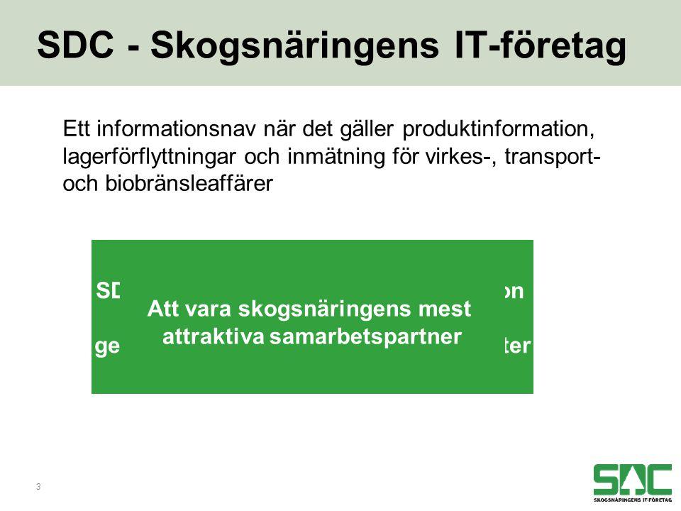 3 SDC - Skogsnäringens IT-företag Ett informationsnav när det gäller produktinformation, lagerförflyttningar och inmätning för virkes-, transport- och biobränsleaffärer SDC förmedlar och förädlar information mellan skog och industri genom branschgemensamma IT-tjänster Att vara skogsnäringens mest attraktiva samarbetspartner