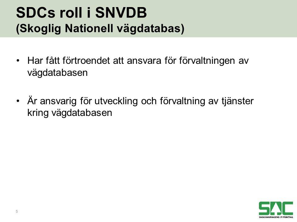 5 SDCs roll i SNVDB (Skoglig Nationell vägdatabas) •Har fått förtroendet att ansvara för förvaltningen av vägdatabasen •Är ansvarig för utveckling och förvaltning av tjänster kring vägdatabasen