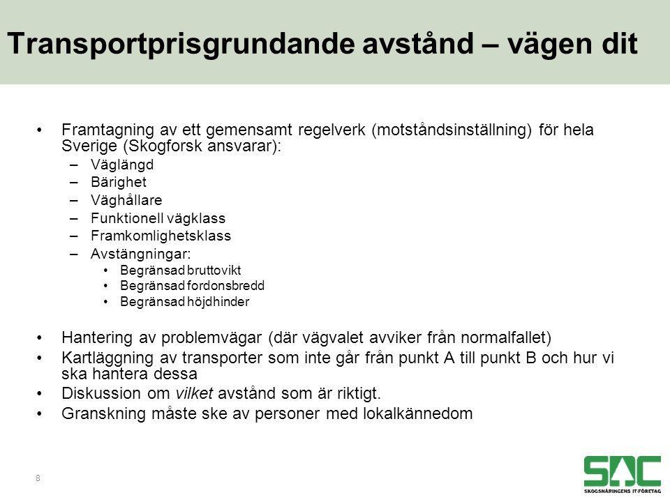 8 Transportprisgrundande avstånd – vägen dit •Framtagning av ett gemensamt regelverk (motståndsinställning) för hela Sverige (Skogforsk ansvarar): –Väglängd –Bärighet –Väghållare –Funktionell vägklass –Framkomlighetsklass –Avstängningar: •Begränsad bruttovikt •Begränsad fordonsbredd •Begränsad höjdhinder •Hantering av problemvägar (där vägvalet avviker från normalfallet) •Kartläggning av transporter som inte går från punkt A till punkt B och hur vi ska hantera dessa •Diskussion om vilket avstånd som är riktigt.