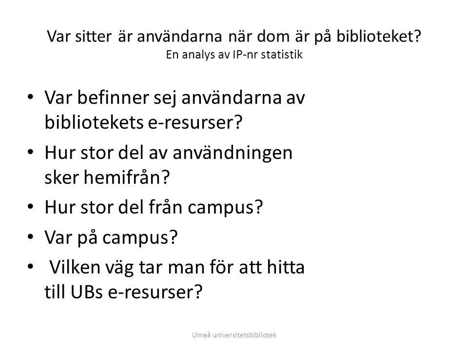 Var sitter är användarna när dom är på biblioteket? En analys av IP-nr statistik • Var befinner sej användarna av bibliotekets e-resurser? • Hur stor