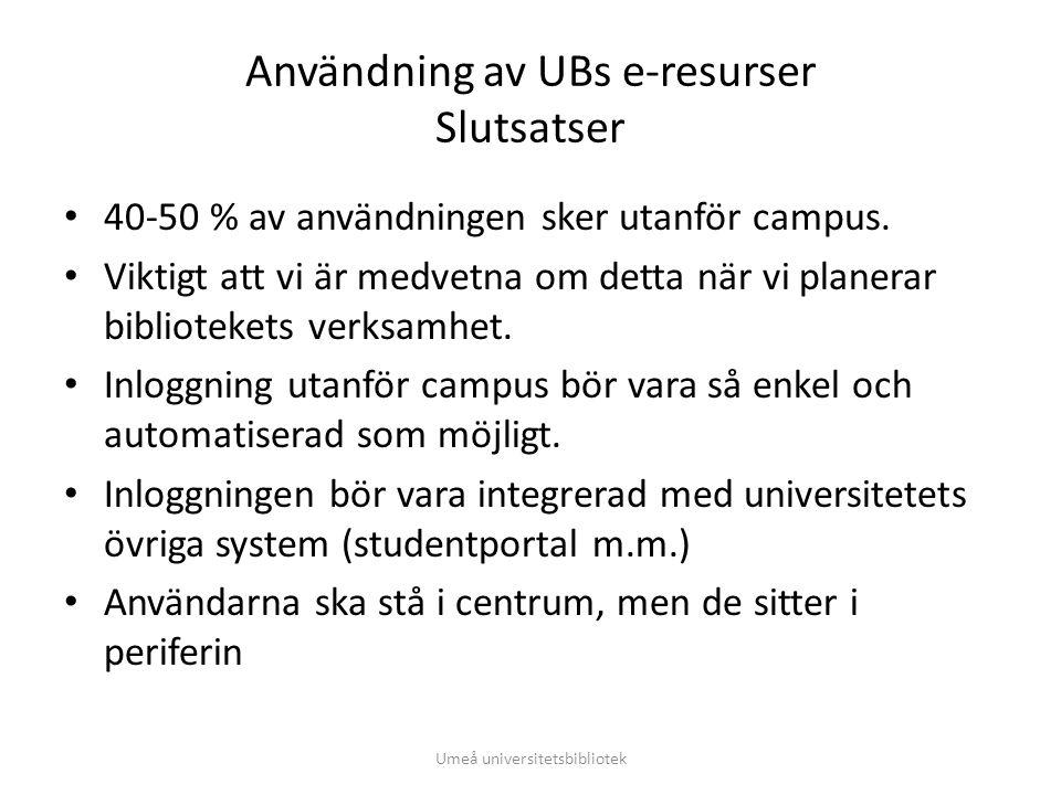 Användning av UBs e-resurser Slutsatser • 40-50 % av användningen sker utanför campus. • Viktigt att vi är medvetna om detta när vi planerar bibliotek