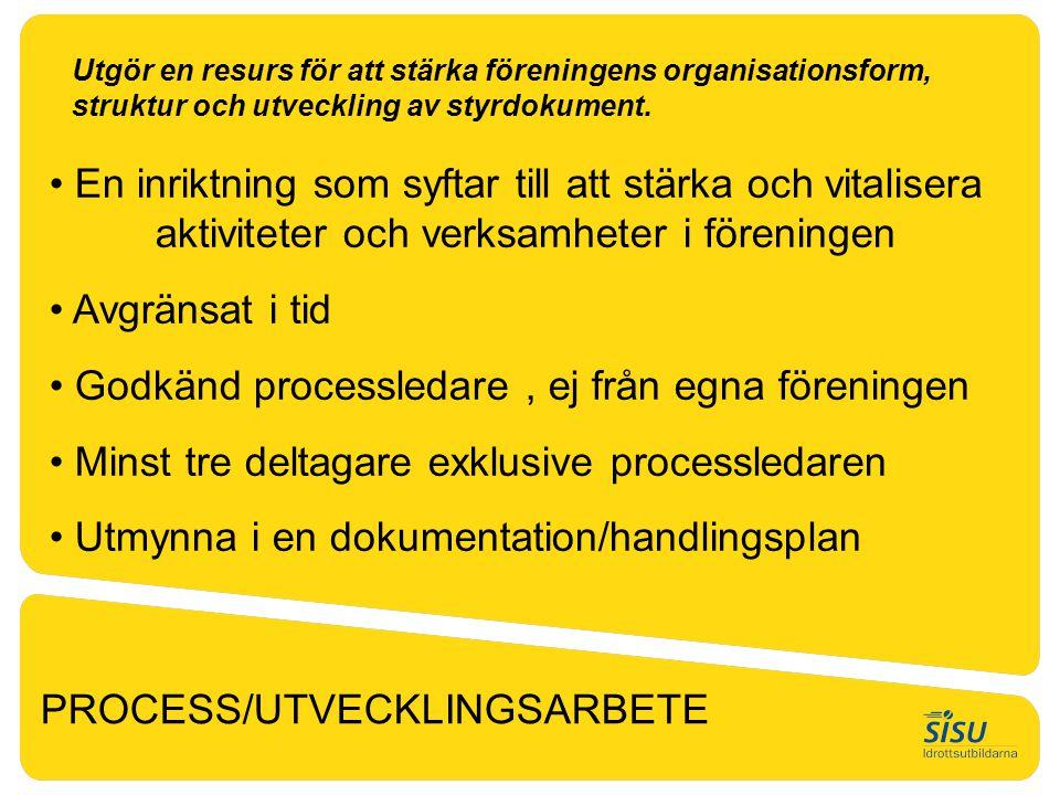 PROCESS/UTVECKLINGSARBETE Utgör en resurs för att stärka föreningens organisationsform, struktur och utveckling av styrdokument. • En inriktning som s