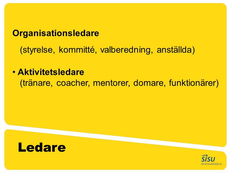 Organisationsledare (styrelse, kommitté, valberedning, anställda) • Aktivitetsledare (tränare, coacher, mentorer, domare, funktionärer) Ledare