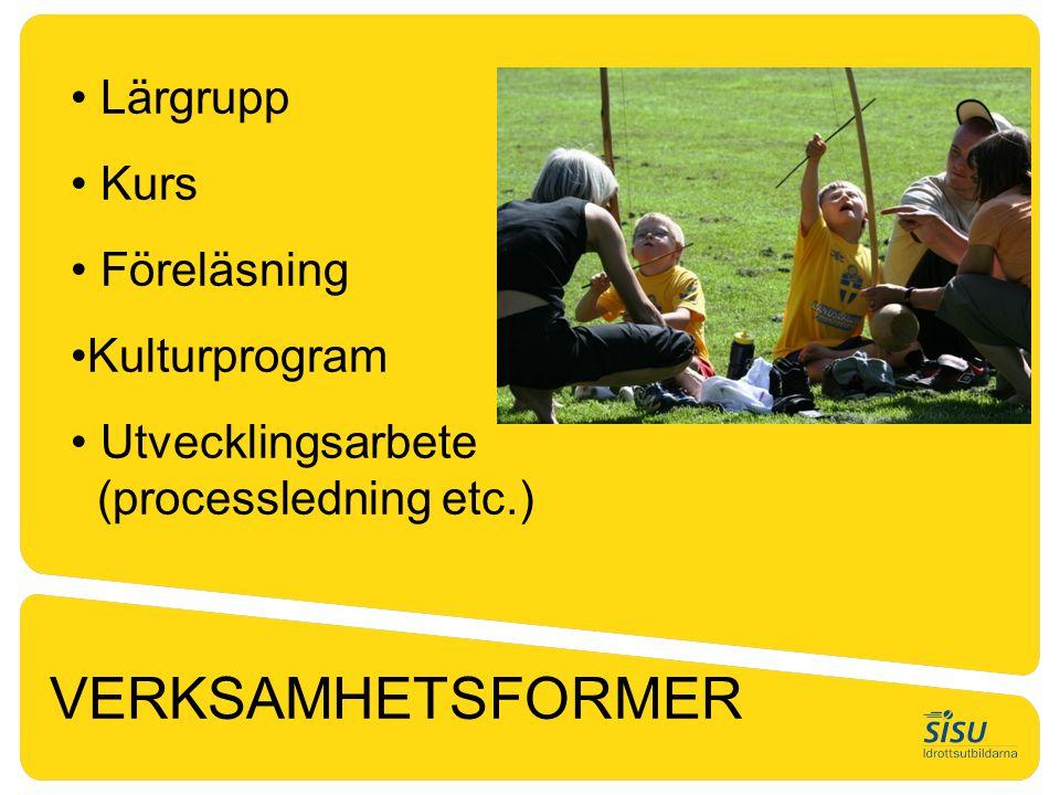• Lärgrupp • Kurs • Föreläsning •Kulturprogram • Utvecklingsarbete (processledning etc.) VERKSAMHETSFORMER