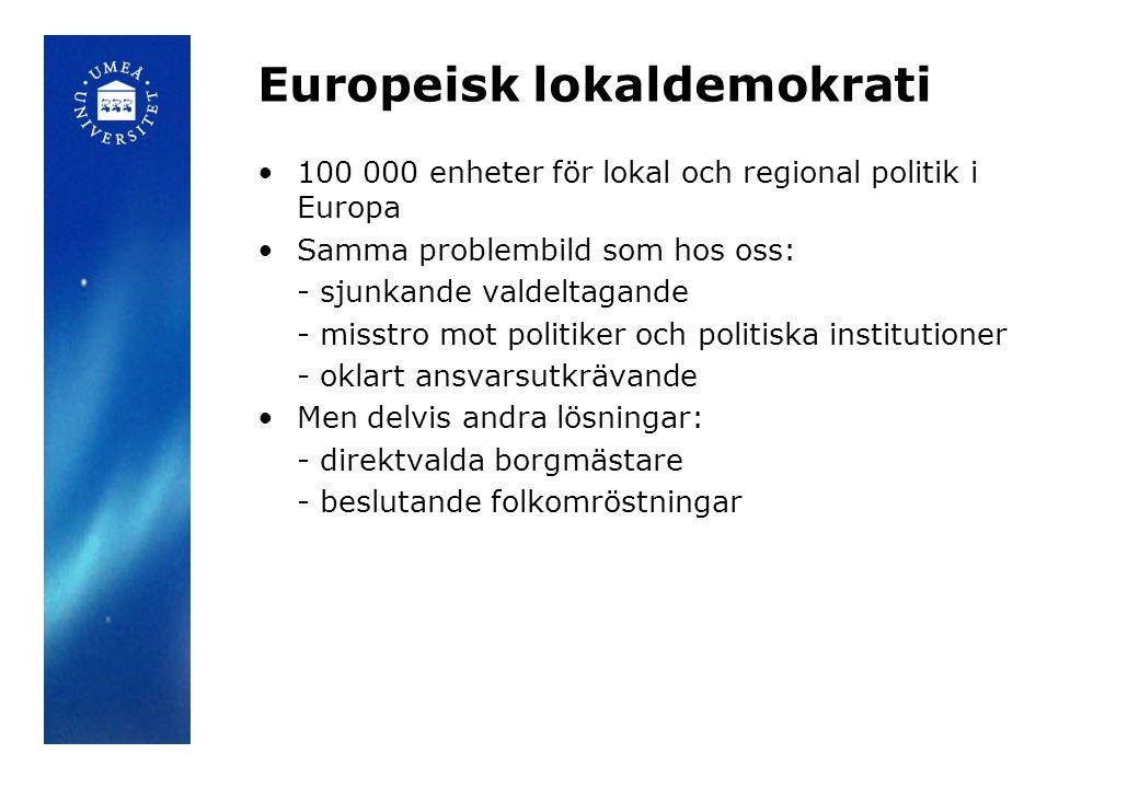 Europeisk lokaldemokrati •100 000 enheter för lokal och regional politik i Europa •Samma problembild som hos oss: - sjunkande valdeltagande - misstro mot politiker och politiska institutioner - oklart ansvarsutkrävande •Men delvis andra lösningar: - direktvalda borgmästare - beslutande folkomröstningar
