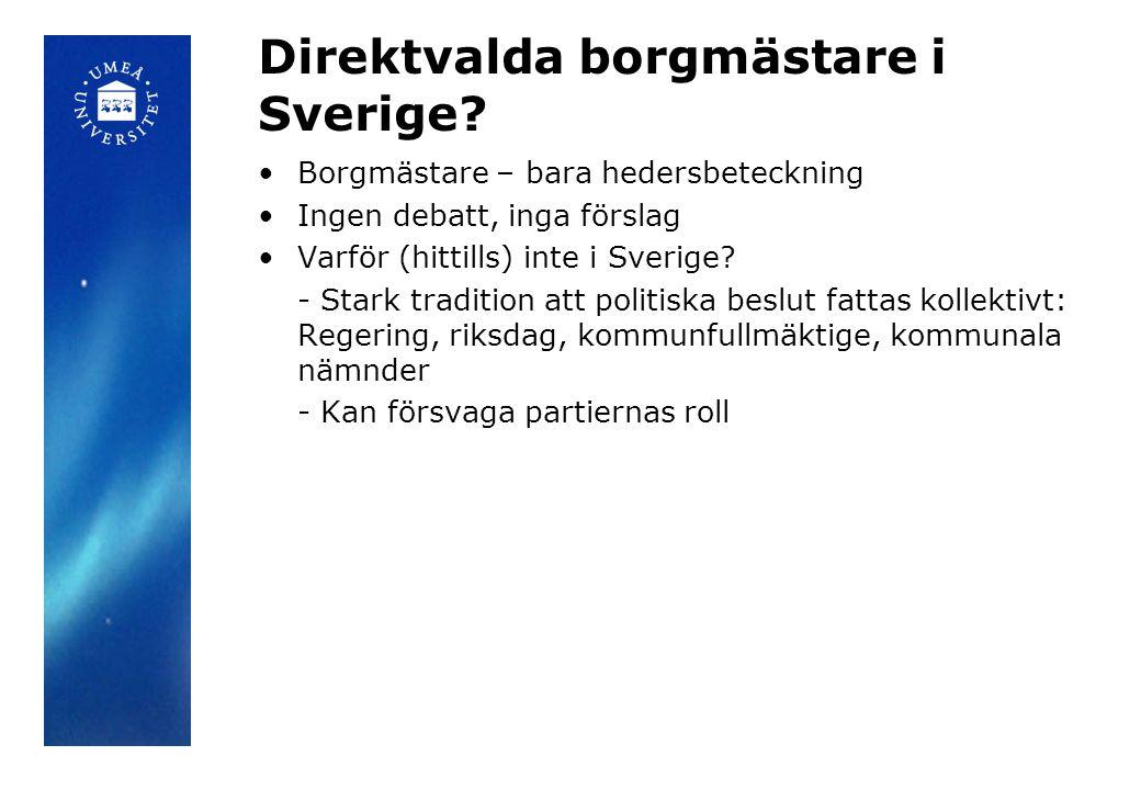 Direktvalda borgmästare i Sverige? •Borgmästare – bara hedersbeteckning •Ingen debatt, inga förslag •Varför (hittills) inte i Sverige? - Stark traditi