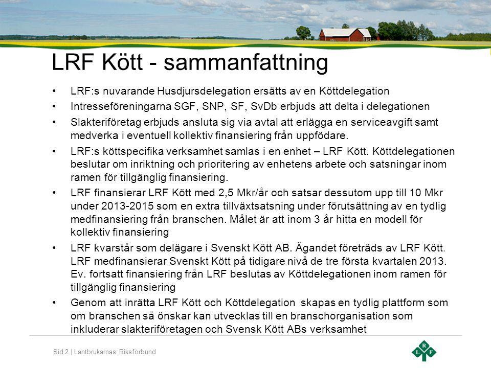 Sid 3 | Lantbrukarnas Riksförbund Syfte och mål för LRF Kött •Målet är att öka de svenska köttproducenternas och branschens förutsättningar att skapa lönsamhet, konkurrenskraft och tillväxt genom arbete med •Köttspecifik näringspolitik •Omvärlds- och marknadsanalys •Kommunikation •Initiera verksamhet som stödjer utveckling av marknad, företagande och primärproduktion •Behovsinventering och påverkan av forskning och utveckling 3