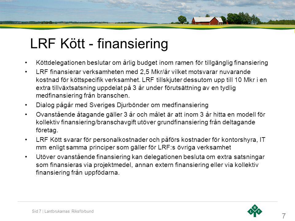Sid 7 | Lantbrukarnas Riksförbund LRF Kött - finansiering •Köttdelegationen beslutar om årlig budget inom ramen för tillgänglig finansiering •LRF finansierar verksamheten med 2,5 Mkr/år vilket motsvarar nuvarande kostnad för köttspecifik verksamhet.