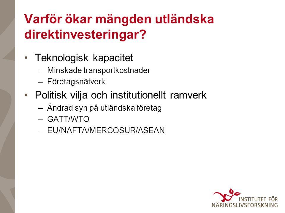 Varför ökar mängden utländska direktinvesteringar? •Teknologisk kapacitet –Minskade transportkostnader –Företagsnätverk •Politisk vilja och institutio