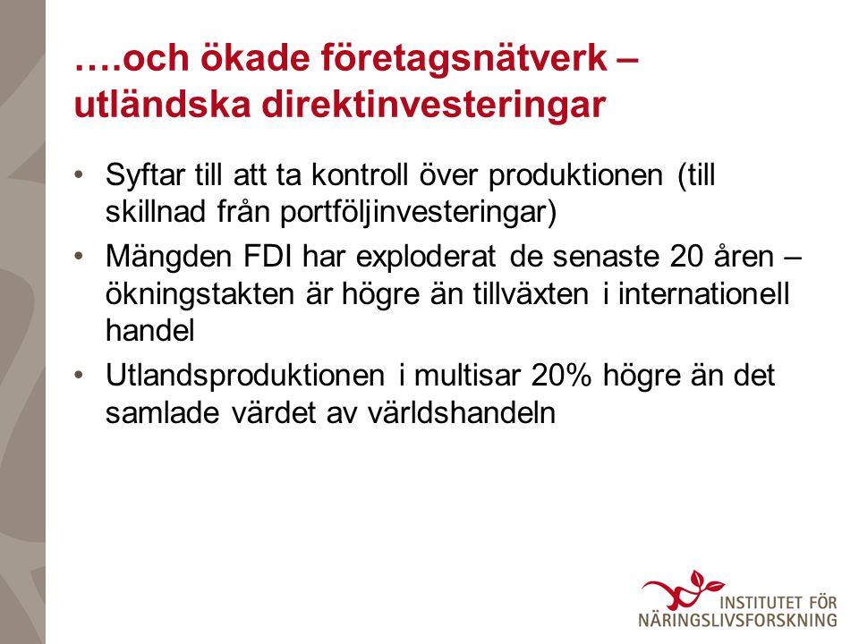 ….och ökade företagsnätverk – utländska direktinvesteringar •Syftar till att ta kontroll över produktionen (till skillnad från portföljinvesteringar)