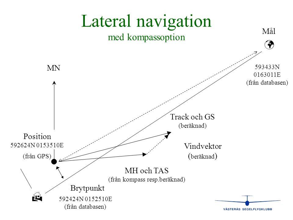 Lateral navigation med kompassoption   Brytpunkt Mål 593433N 0163011E (från databasen)  Position 592624N 0153510E (från GPS) MN Track och GS (beräk