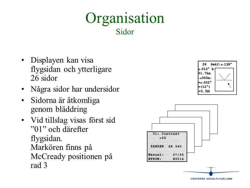 Organisation Sidor • •Displayen kan visa flygsidan och ytterligare 26 sidor • •Några sidor har undersidor • •Sidorna är åtkomliga genom bläddring • •V