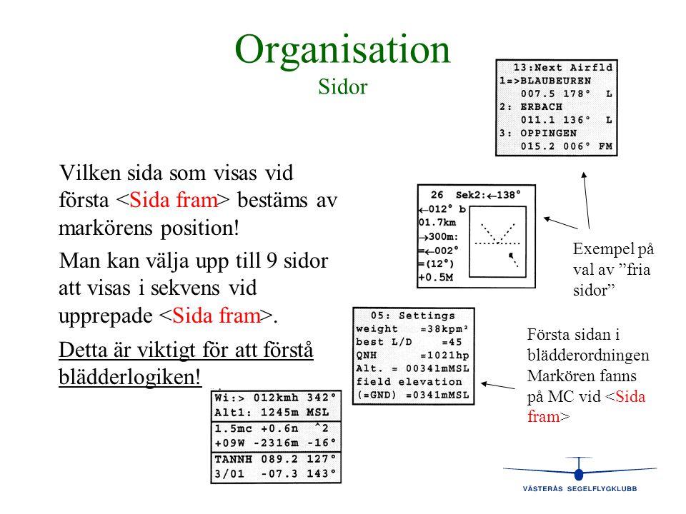 Organisation Sidor Vilken sida som visas vid första bestäms av markörens position! Man kan välja upp till 9 sidor att visas i sekvens vid upprepade. F
