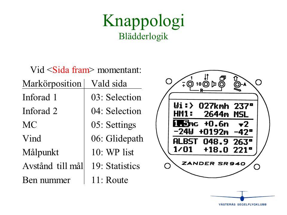 Knappologi Blädderlogik Vid momentant: MarkörpositionVald sida Inforad 103: Selection 1 Inforad 204: Selection 2 MC05: Settings Vind06: Glidepath Målp