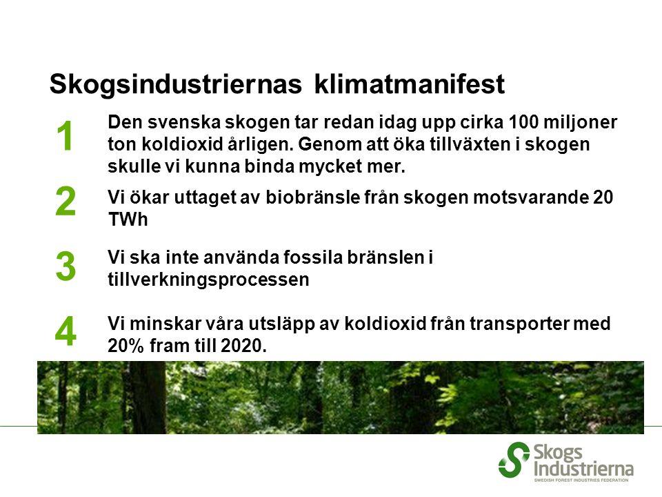 We will double our resources for research Skogsindustriernas klimatmanifest 1 2 3 4 5 Den svenska skogen tar redan idag upp cirka 100 miljoner ton kol