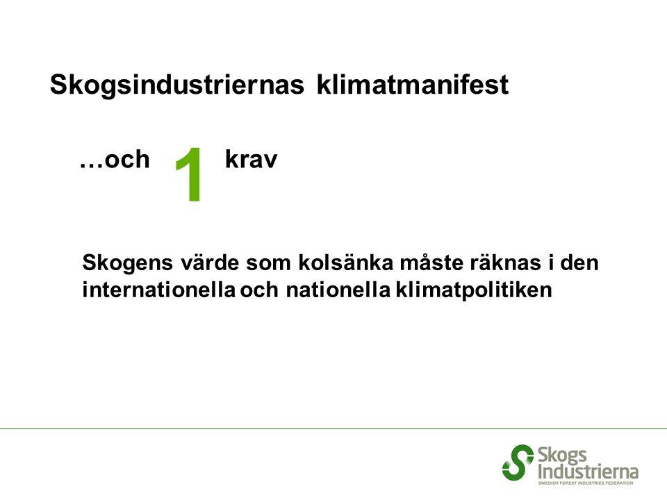 Skogsindustriernas klimatmanifest …och Skogens värde som kolsänka måste räknas i den internationella och nationella klimatpolitiken 1 krav