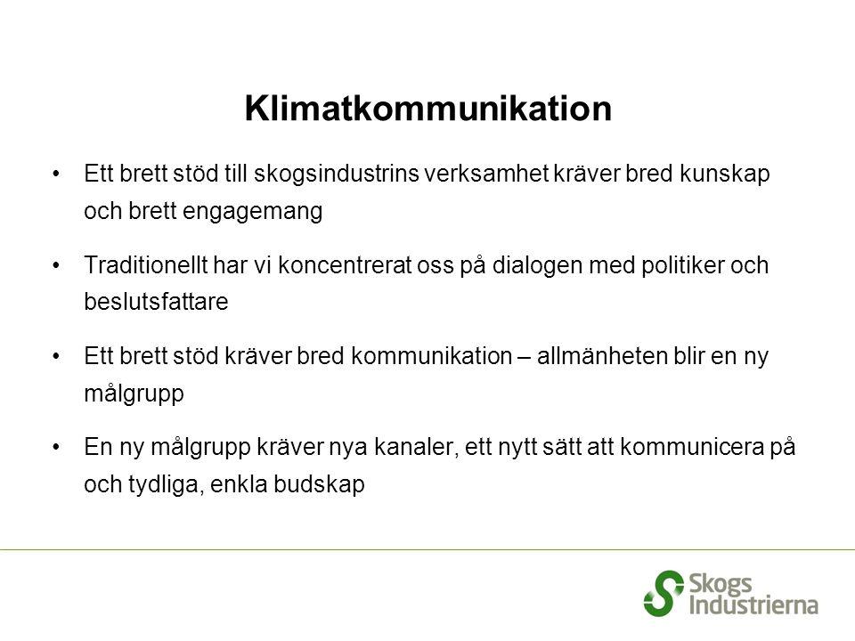 Klimatkommunikation •Ett brett stöd till skogsindustrins verksamhet kräver bred kunskap och brett engagemang •Traditionellt har vi koncentrerat oss på
