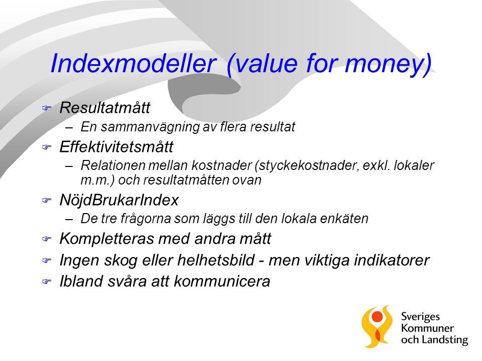 Indexmodeller (value for money) F Resultatmått –En sammanvägning av flera resultat F Effektivitetsmått –Relationen mellan kostnader (styckekostnader, exkl.