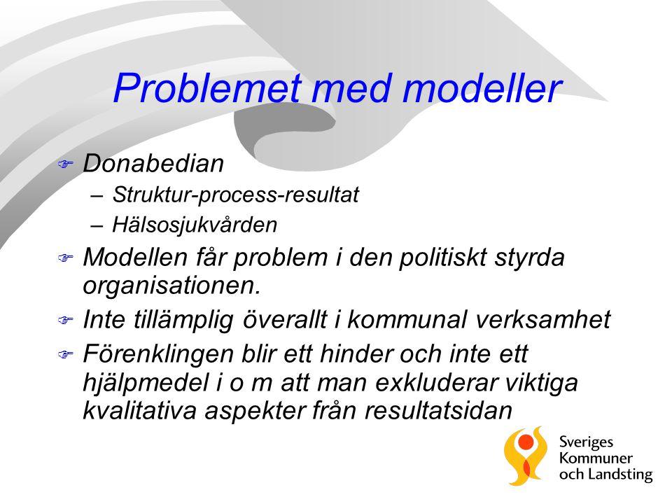 Problemet med modeller F Donabedian –Struktur-process-resultat –Hälsosjukvården F Modellen får problem i den politiskt styrda organisationen.