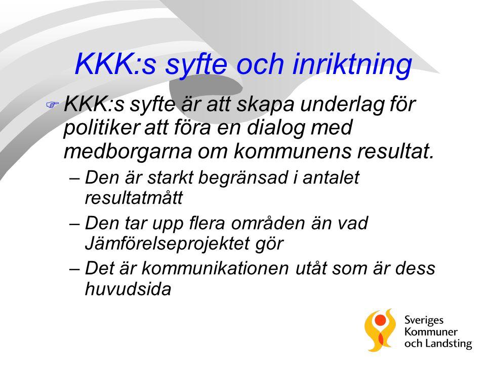 KKK:s syfte och inriktning F KKK:s syfte är att skapa underlag för politiker att föra en dialog med medborgarna om kommunens resultat.