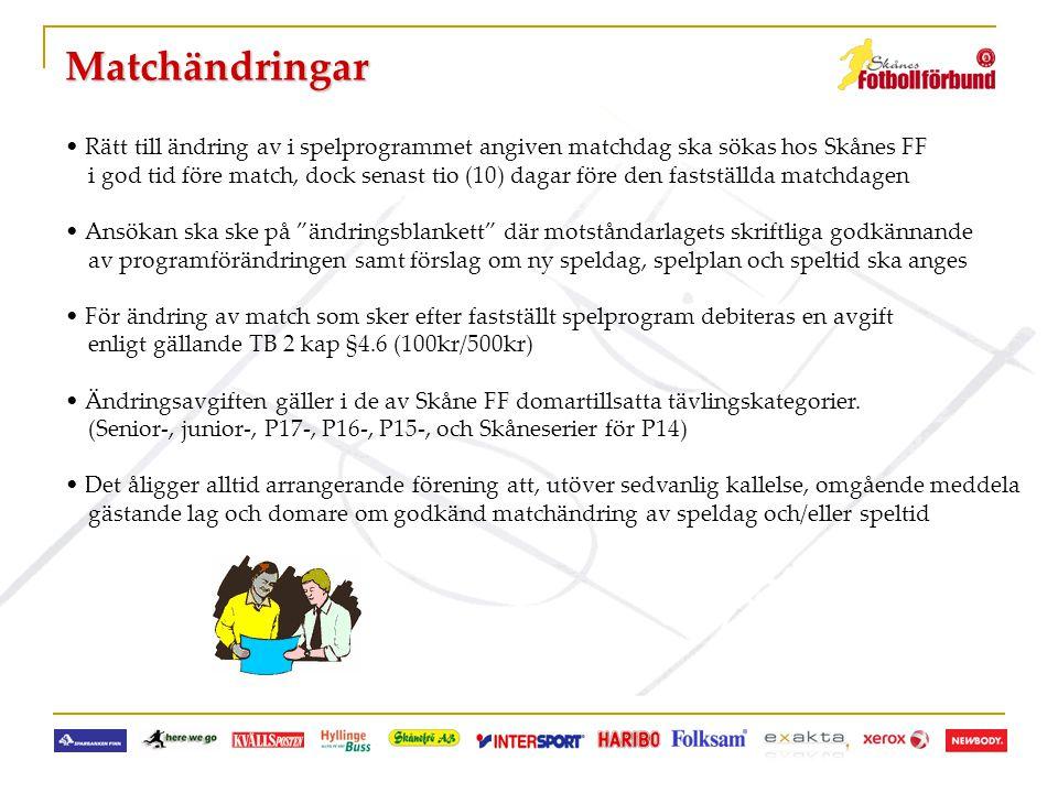 Matchändringar • Rätt till ändring av i spelprogrammet angiven matchdag ska sökas hos Skånes FF i god tid före match, dock senast tio (10) dagar före