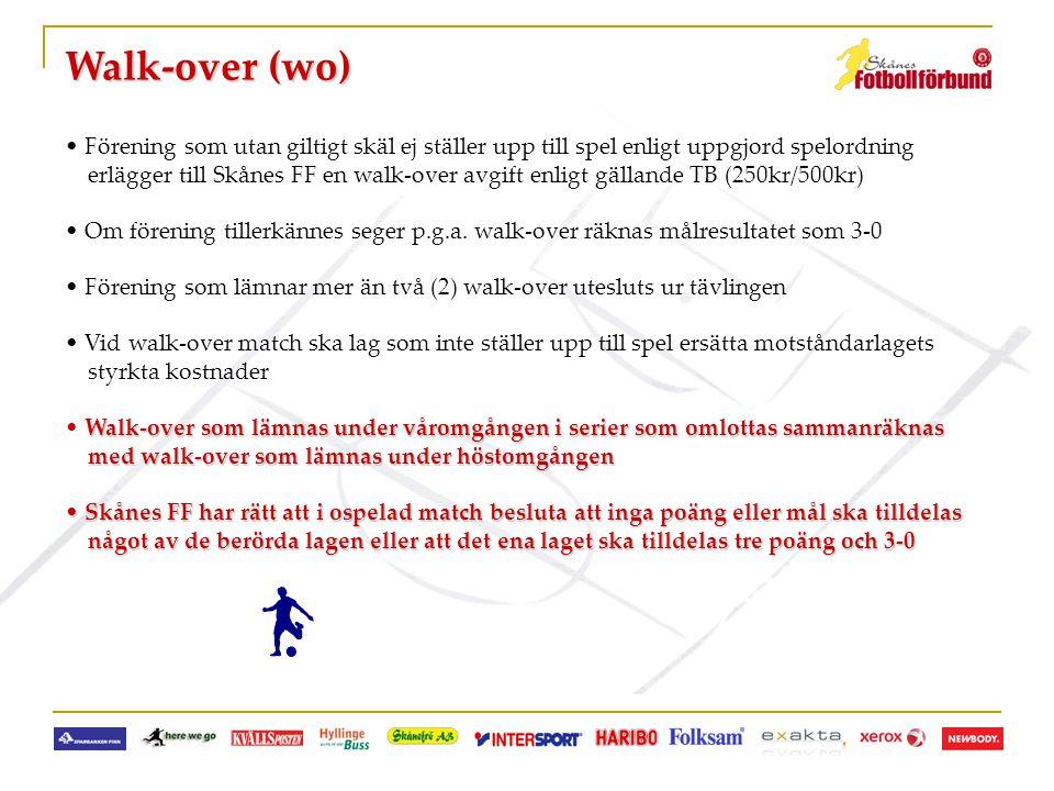 Walk-over (wo) • Förening som utan giltigt skäl ej ställer upp till spel enligt uppgjord spelordning erlägger till Skånes FF en walk-over avgift enlig