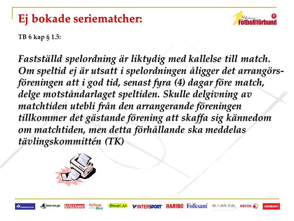 Ej bokade seriematcher: TB 6 kap § 1.5: Fastställd spelordning är liktydig med kallelse till match. Om speltid ej är utsatt i spelordningen åligger de