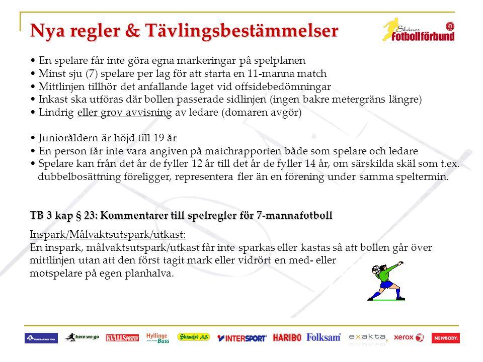 Nya regler & Tävlingsbestämmelser • En spelare får inte göra egna markeringar på spelplanen • Minst sju (7) spelare per lag för att starta en 11-manna