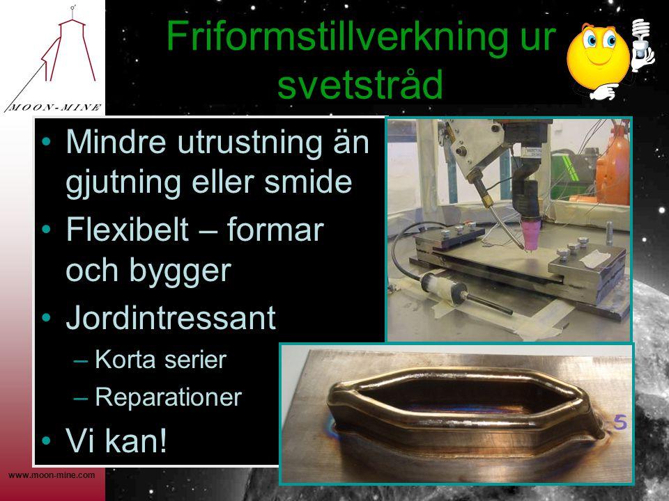 www.moon-mine.com Friformstillverkning ur svetstråd •Mindre utrustning än gjutning eller smide •Flexibelt – formar och bygger •Jordintressant –Korta serier –Reparationer •Vi kan!