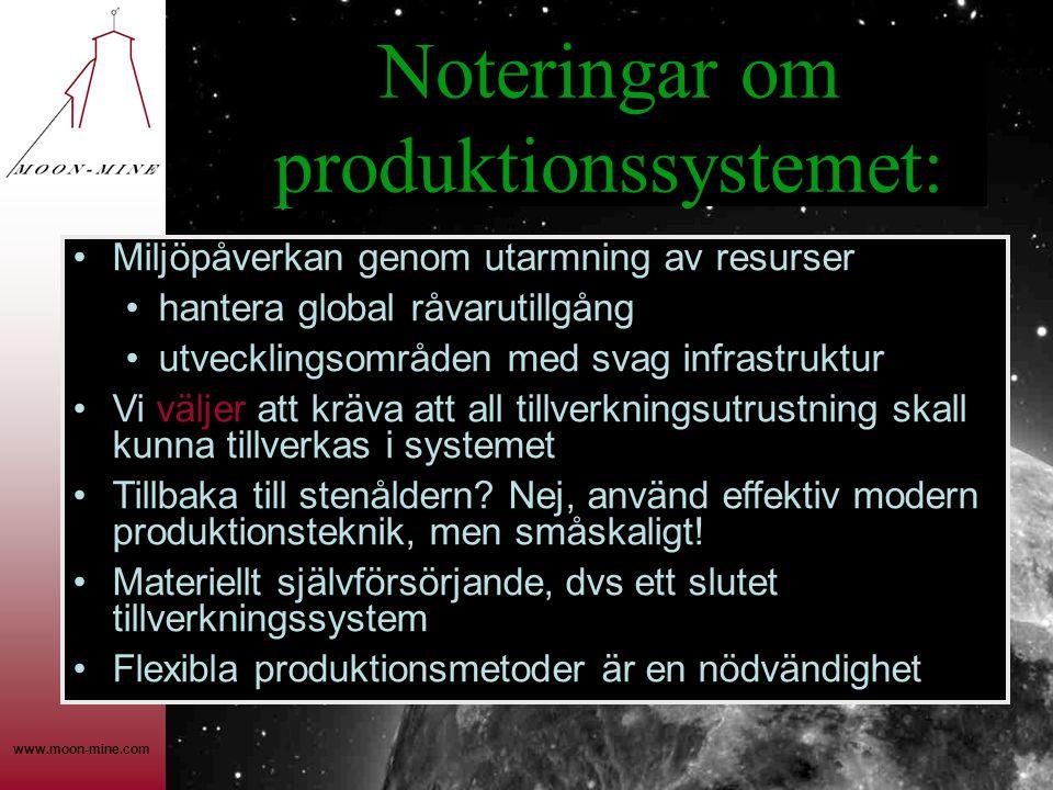 www.moon-mine.com Noteringar om produktionssystemet: •Miljöpåverkan genom utarmning av resurser •hantera global råvarutillgång •utvecklingsområden med svag infrastruktur •Vi väljer att kräva att all tillverkningsutrustning skall kunna tillverkas i systemet •Tillbaka till stenåldern.